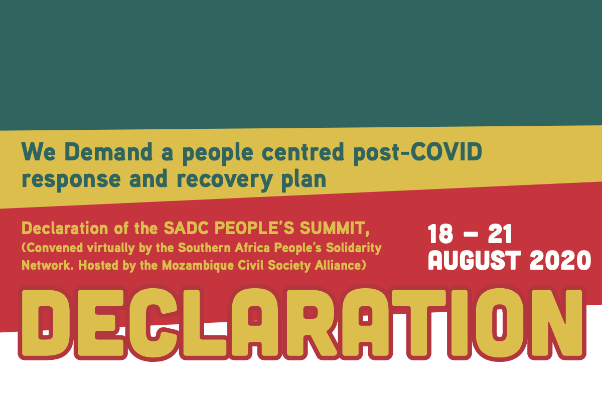 We Demand a people-centered post-COVID response and recovery plan